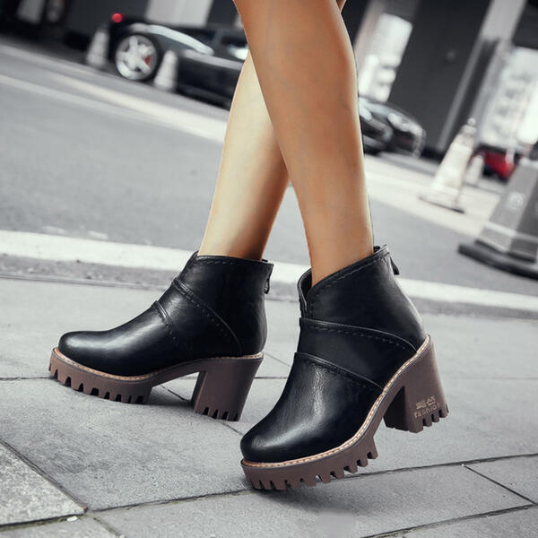 Women's PU Chunky Heel Boots Ankle Boots High Top Round Toe With Zipper Solid Color shoes