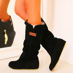 Women's PU Low Heel Boots Snow Boots Round Toe With Solid Color shoes