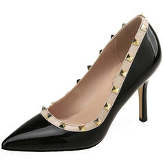 Women's Patent Leather Stiletto Heel Pumps Pointed Toe With Rivet shoes
