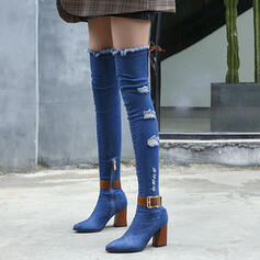 Women's Denim Chunky Heel Over The Knee Boots With Zipper shoes