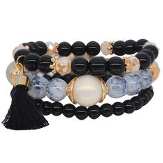 Unique Elegant Tassels Design Alloy Resin Cotton String With Tassels Resin Beads Women's Bracelets 3 PCS