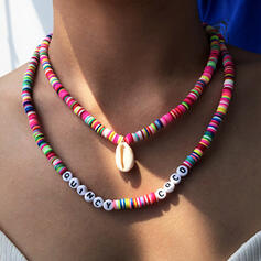 Letter Colourful Boho Resin Soft Clay With Shell Necklaces 2 PCS