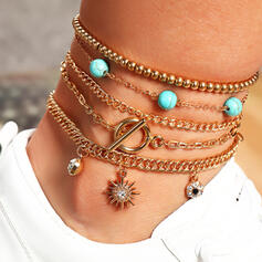 Boho Layered Alloy With Star Anklets 5 PCS