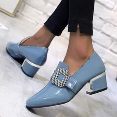 Women's PU Chunky Heel Pumps Low Top Square Toe With Rhinestone shoes