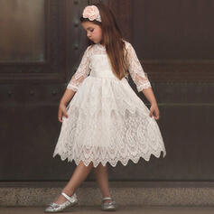 Toddler Girl Solid Lace Cotton Dress