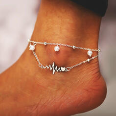 Cool Layered Alloy With Heart Lightning Anklets (Set of 2)