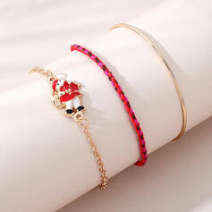 Pretty Romantic Round Alloy Braided Rope Women's Bracelets 3 PCS