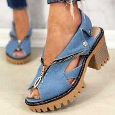 Women's Denim Chunky Heel Sandals Peep Toe With Zipper Hollow-out shoes