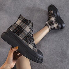 Women's Canvas Flat Heel Ankle Boots With Lace-up shoes