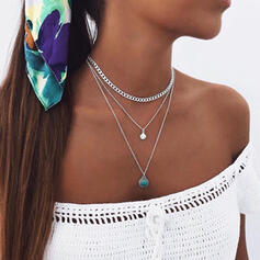 Beautiful Layered Alloy With Gem Shell Necklaces (Set of 3)