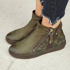 Women's PU Flat Heel Martin Boots Low Top Round Toe With Rivet Zipper shoes
