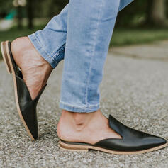 Women's Leatherette Flat Heel Flats Low Top Slide & Mules Loafers With Solid Color shoes
