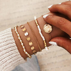 Vintage Layered Alloy Beads With Coin Bracelets (Set of 5)