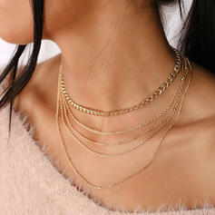 Simple Link & Chain Layered Alloy Necklaces (Set of 5)