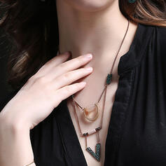 Chic Boho Layered Alloy With Beads Necklaces 2 PCS