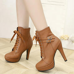 Women's PU Stiletto Heel Ankle Boots With Buckle Lace-up shoes