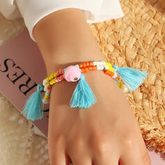 Boho Layered Cotton String Beads With Tassels Bracelets 2 PCS