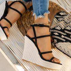 Women's Microfiber Wedge Heel Sandals Pumps Wedges With Solid Color shoes