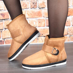 Women's Suede Flat Heel Snow Boots Round Toe With Velcro Solid Color shoes