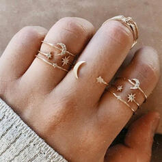 Charming Alloy With Star Moon Sun Rings (Set of 7)