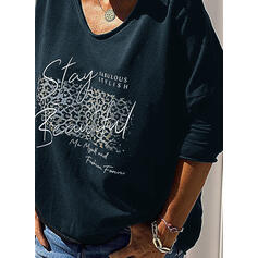 Leopard Figure V-Neck Long Sleeves Casual T-shirts