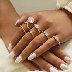Alloy With Rhinestone Rings (Set of 7)