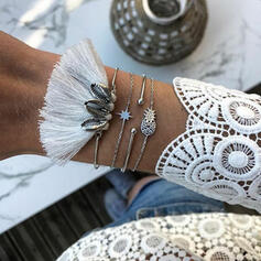 Boho Layered Alloy Cotton String With Tassels Bracelets 4 PCS