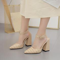 Women's PU Chunky Heel Pointed Toe With Buckle shoes