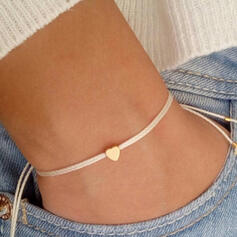 Simple Braided Rope With Heart Bracelets