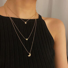 Simple Layered Alloy With Star Moon Heart Necklaces (Set of 3)