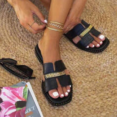 Women's PU Flat Heel Sandals Flats Peep Toe Slippers With Chain Hollow-out shoes