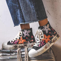 Women's Canvas Flat Heel Flats High Top Round Toe Espadrille Sneakers With Lace-up Flower Splice Color shoes