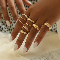 Vintage Classic Alloy Rings (Set of 9)