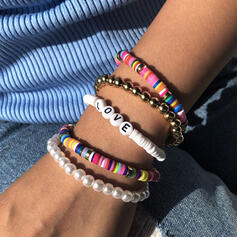 Letter Colourful Boho Layered Beads Bracelets 5 PCS