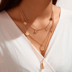 Layered Alloy With Shell Coin Necklaces (Set of 3)