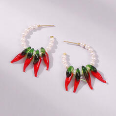 Chic Alloy Resin Imitation Pearls Earrings 2 PCS
