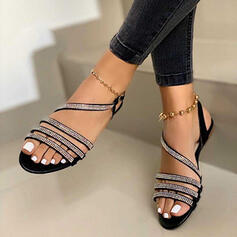 Women's Leatherette Sparkling Glitter Flat Heel Sandals Peep Toe Slingbacks With Rhinestone Buckle Hollow-out shoes