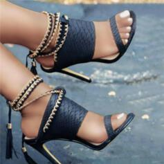 Women's PU Stiletto Heel Sandals Pumps Heels With Chain Hollow-out Tassel Solid Color shoes