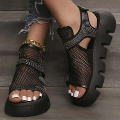 Women's Cloth Mesh Wedge Heel Sandals Peep Toe With Hollow-out Solid Color shoes