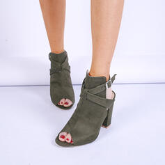 Women's Leatherette Chunky Heel Closed Toe Boots Peep Toe With Buckle Hollow-out shoes