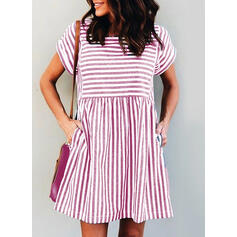 Striped Short Sleeves Shift Above Knee Casual Dresses