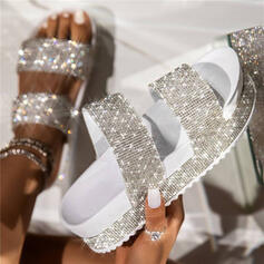 Women's PU Flat Heel Sandals Platform Wedges Peep Toe Slippers With Rhinestone Hollow-out shoes