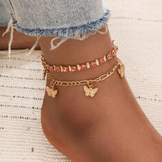 Exotic Alloy With Butterfly Anklets (Set of 2)