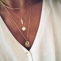 Cross Hottest Alloy With Shell Coin Necklaces Beach Jewelry (Set of 4)