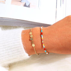 Simple Boho Layered Alloy Beads Bracelets 2 PCS