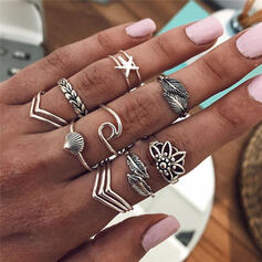 Unique Alloy With Shell Leaf Starfish Rings (12 Pieces)