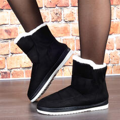 Women's Suede Flat Heel Snow Boots Round Toe With Faux-Fur Solid Color shoes
