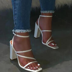 Women's PU Chunky Heel Sandals Flats Slingbacks Slippers With Buckle Solid Color shoes