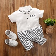 Baby Boy Bowknot Striped Cotton One-piece