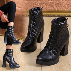 Women's Leatherette Chunky Heel Ankle Boots With Zipper Solid Color shoes